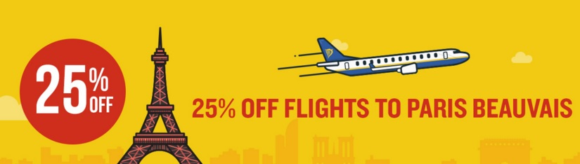 Ryanair sale 25 off all flights to from paris beauvais for Best flights to paris